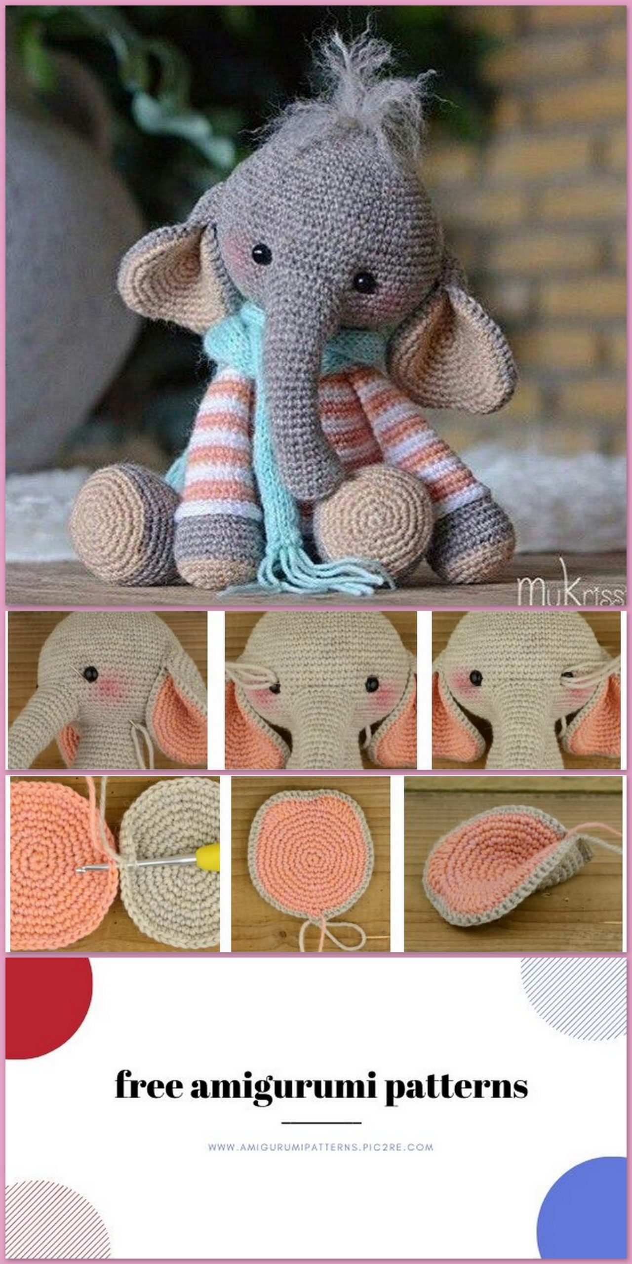 Amigurumi Little Cute Elephant Free Crochet Pattern - Amigurumi ... | 2560x1280