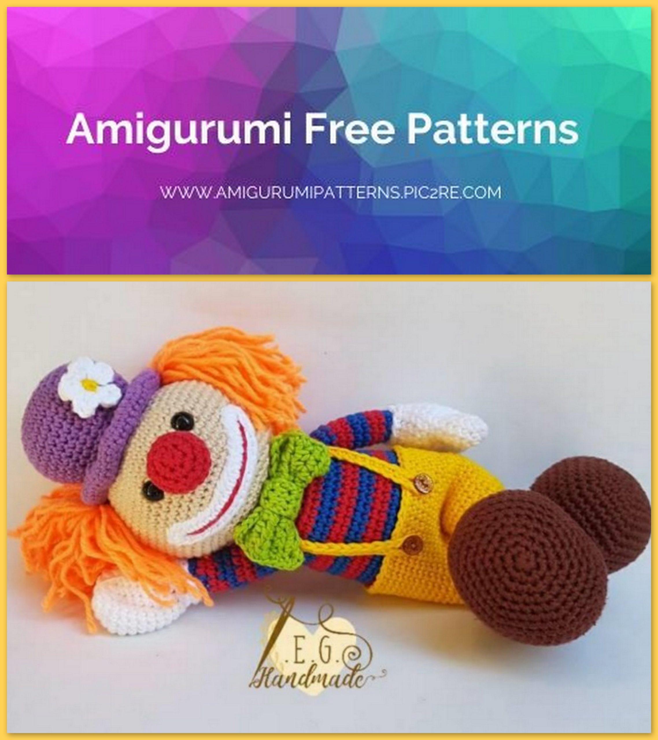 Clown Amigurumi – crochet pattern – Carmen Crochet | 2560x2276