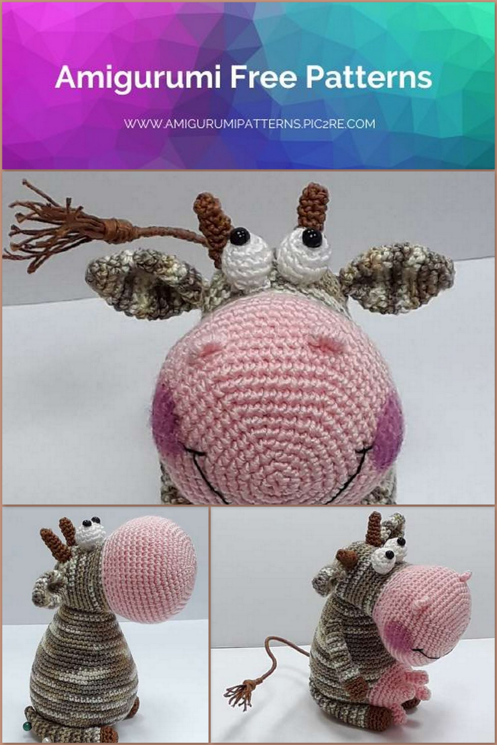 6 Super Cute Crocheted Amigurumi Cow Free Patterns - DIY 4 EVER | 2560x1707